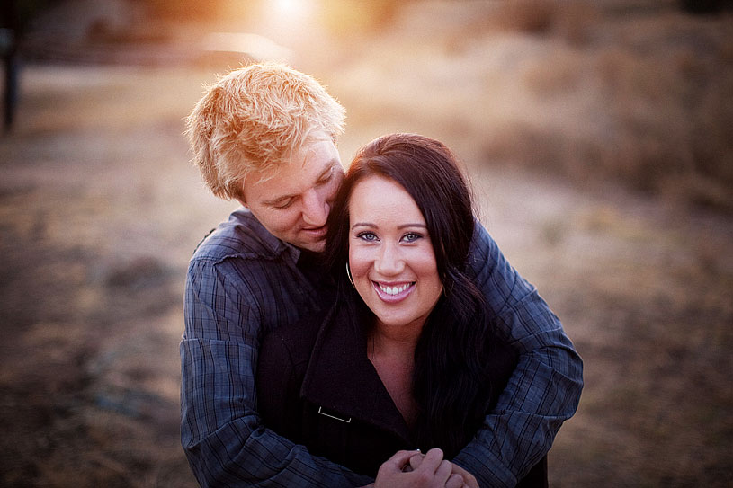 Sunset engagement at Knight's ferry by Heather Elizabeth Photography