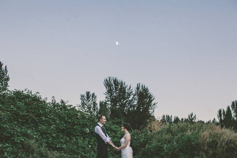 Moonlit dusk portrait at  McMenamins Edgefield Wedding Oregon by heather elizabeth photography