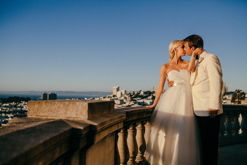 romantic sunset wedding Portrait at the Flood Mansion in San Francisco by Heather Elizabeth Photography