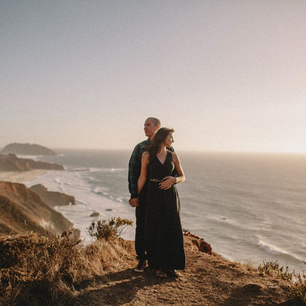A bohemian rustic and artistic engagement on the cliffs of Big Sur by Heather Elizabeth Photography