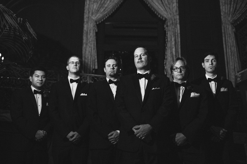 Dapper Black Tie Groomsmen portrait at the Omni Hotel