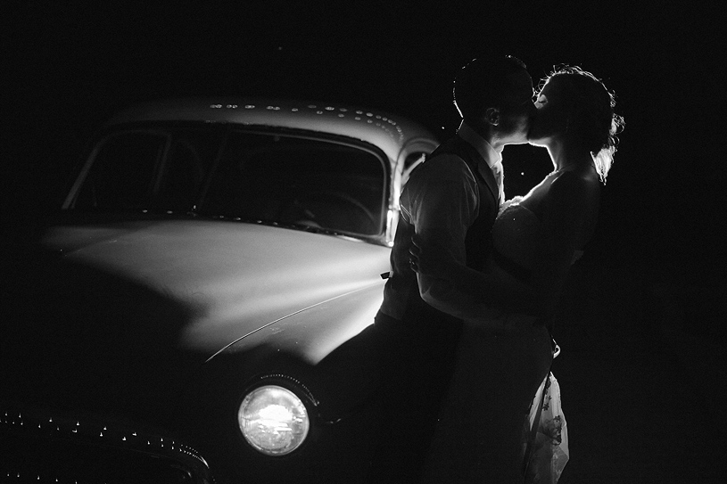 Classic vintage Hot rod wedding portrait at night time in Livermore, California for a Car Club couple