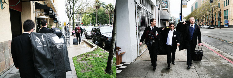 Groom walking to his wedding in Sacramento at the Citizen Hotel