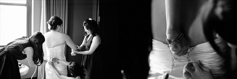 Bride getting her wedding dress on at the Citizen Hotel