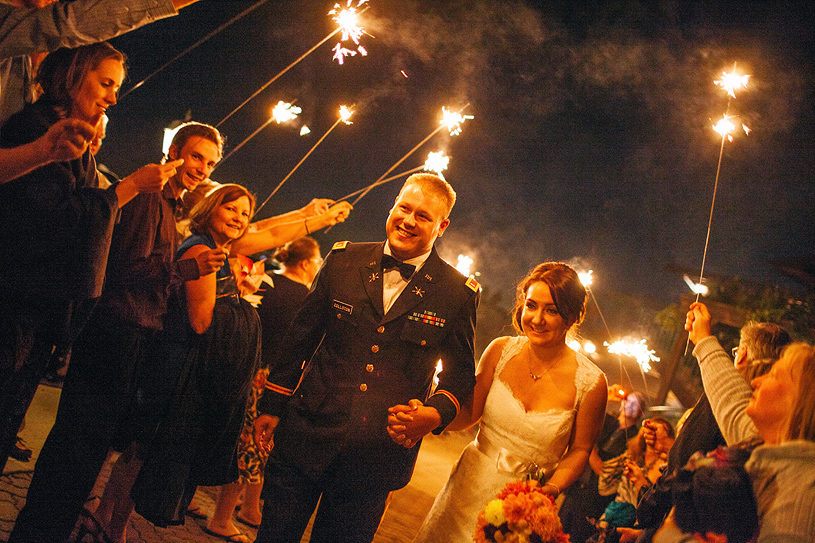 Couple exiting to sparklers at their wedding at their wedding at the Thomas Fogarty Winery