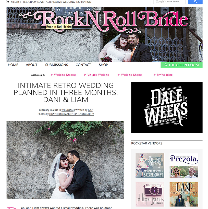 Intimate San Francisco Rock n Roll Bride feature