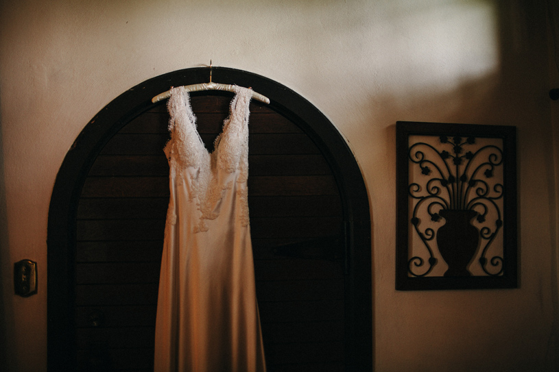 Handmade wedding gown Hanging up at the Swedenborgian Church Bridal Room