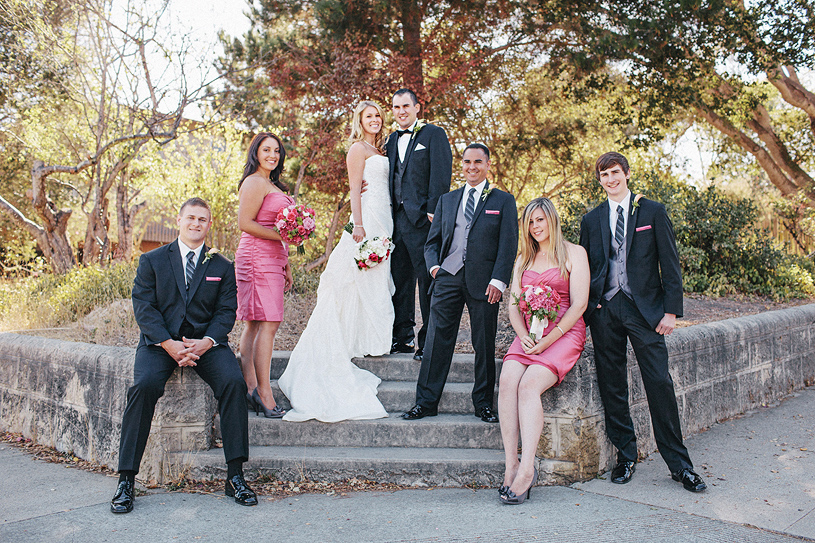 Pink bridesmaid dresses at the Perry House in Carmel, California