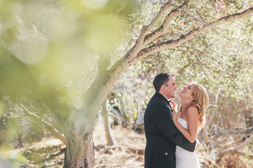 Romantic wedding portrait of a bride and groom at the Perry House in Carmel