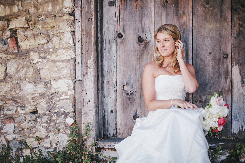 Strapless bridal gown on a bride at her wedding at the Perry House in Carmel, California