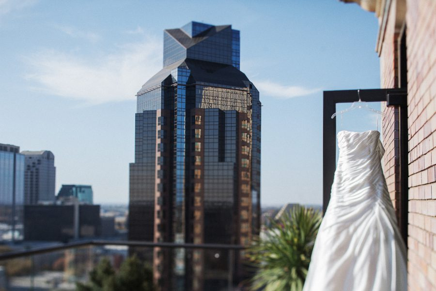 Maggie Sottero Gown hanging up at the Citizen's Hotel in Sacramento