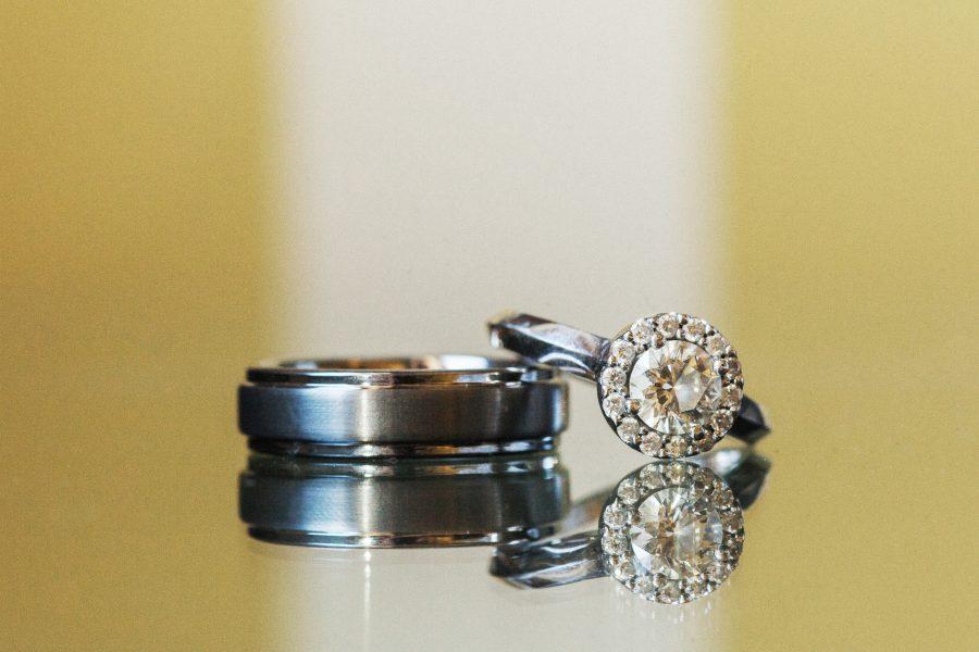 Creative wedding ring photograph taken at the Citizen Hotel in Sacramento