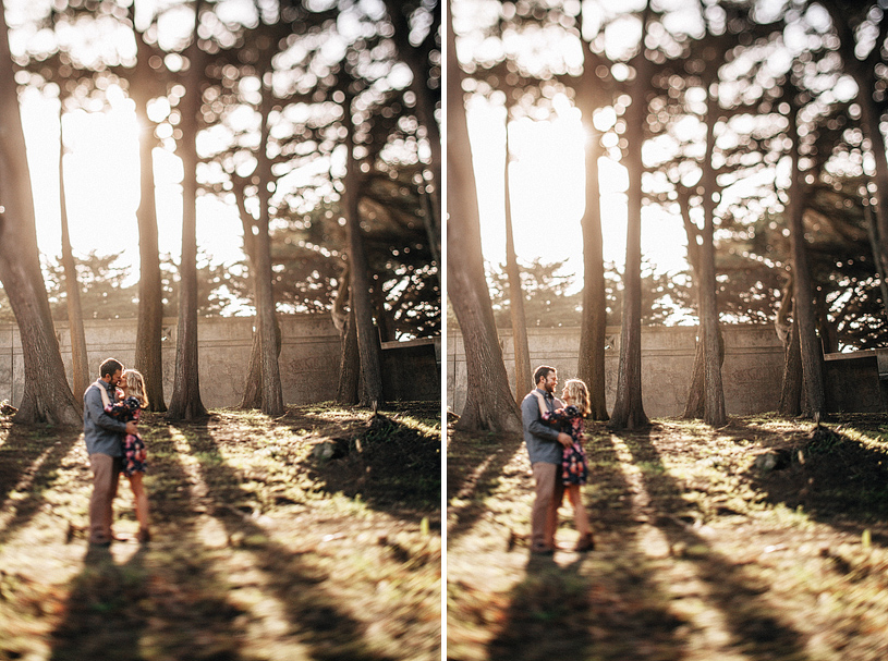 Dramatic and Cinematic engagement session photography at the Sutro Height's Park in San Francisco