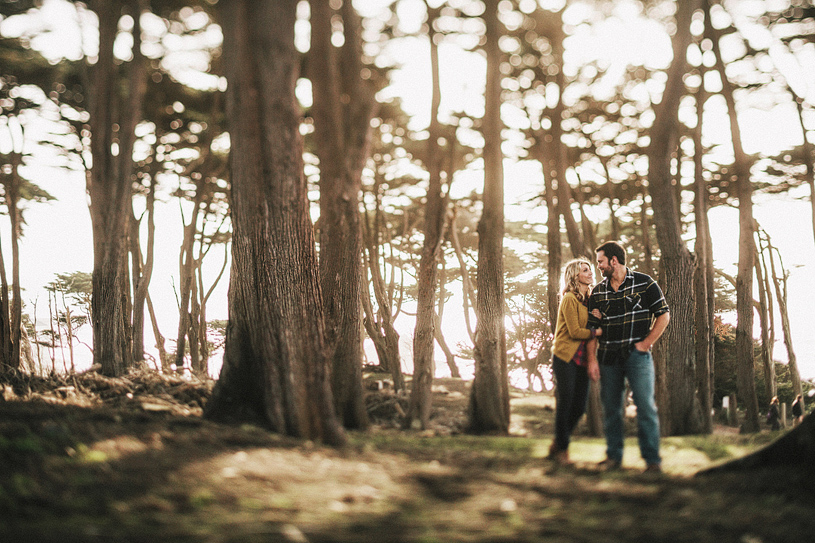 Cinematic and artistic engagement session at Land's End in San Francisco