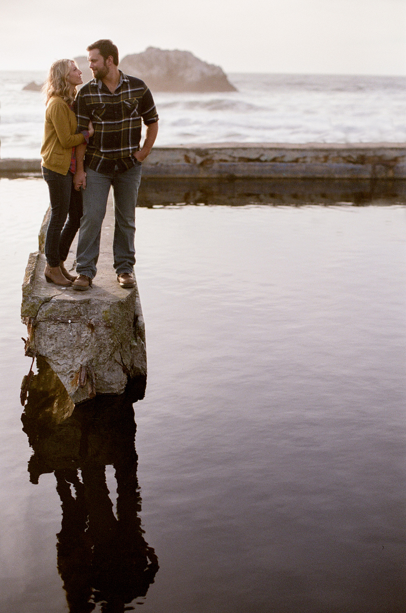 Romantic and creative Engagement session photography at the Sutro Baths in San Francisco