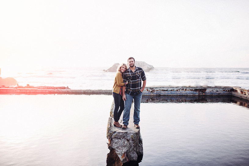 Artistic outdoorsy engagement session at the Sutro Baths in San Francisco
