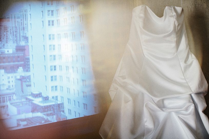 Creative dress photograph at the San Francisco Hilton before her wedding