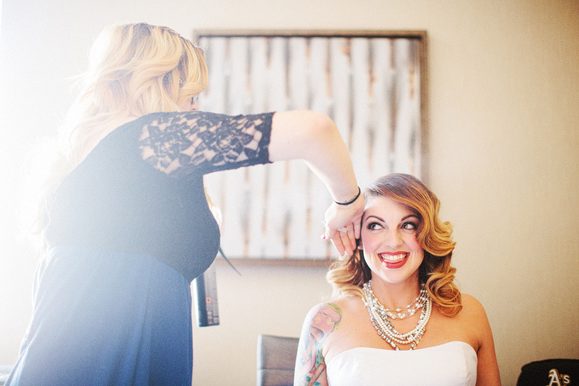 Bride preparing for her San Francisco Elopement at the Hilton