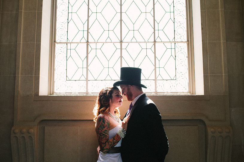 Alternative tattooed couple elopement at san francisco city hall