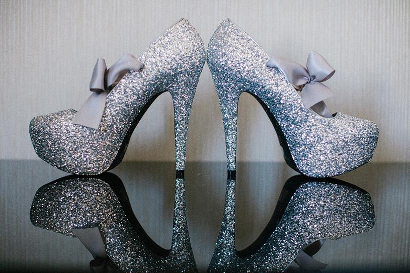 DIY Glitter Wedding Heels