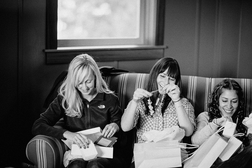Bridesmaids opening their present from the bride at the Evergreen Lodge in Yosemite