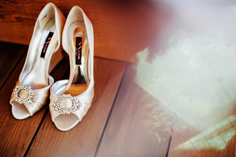 Creative bridal shoe shot of Nima heels
