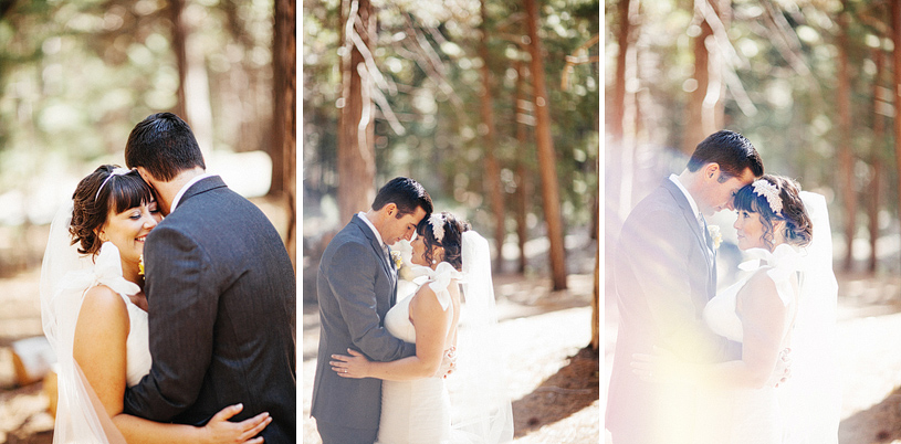Romantic first look between bride and groom in Yosemite for their wedding