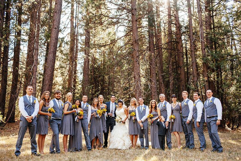 DIY grey and yellow bridal party at Yosemite CA