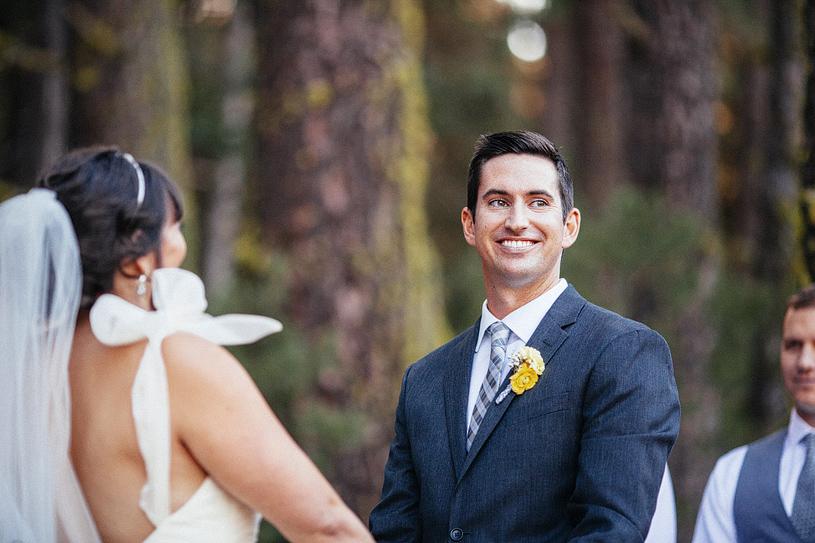 Grey and Yellow wedding ceremony in Yosemite