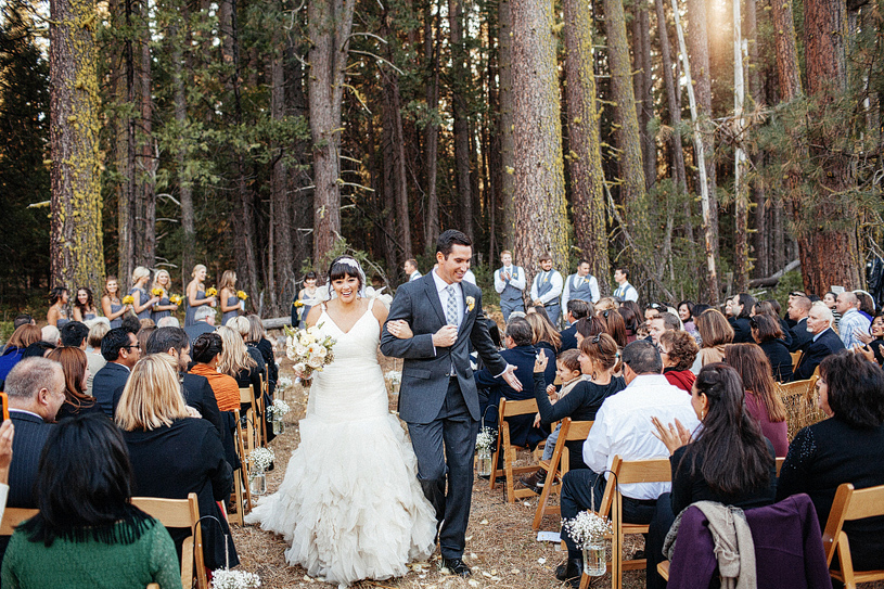 Woodland wedding ceremony site at the Evergreen Lodge in Yosemite