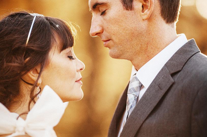 Romantic bride and groom portrait in Yosemite, California