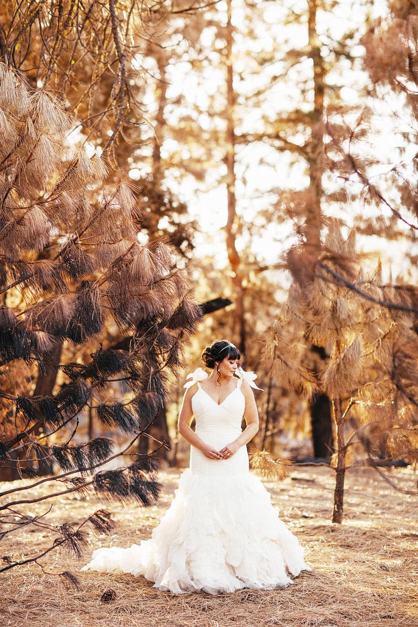 Bride wearing a Kirstie Kelly dress at her wedding in Yosemite