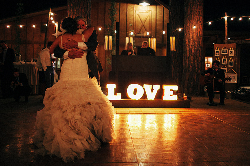 Creative hand built DIY light LOVE sign at a wedding in Yosemite