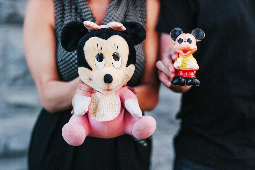 Childhood Disney toys at an engagement session in San Francisco