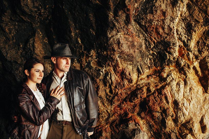 Indiana Jones themed engagement shoot