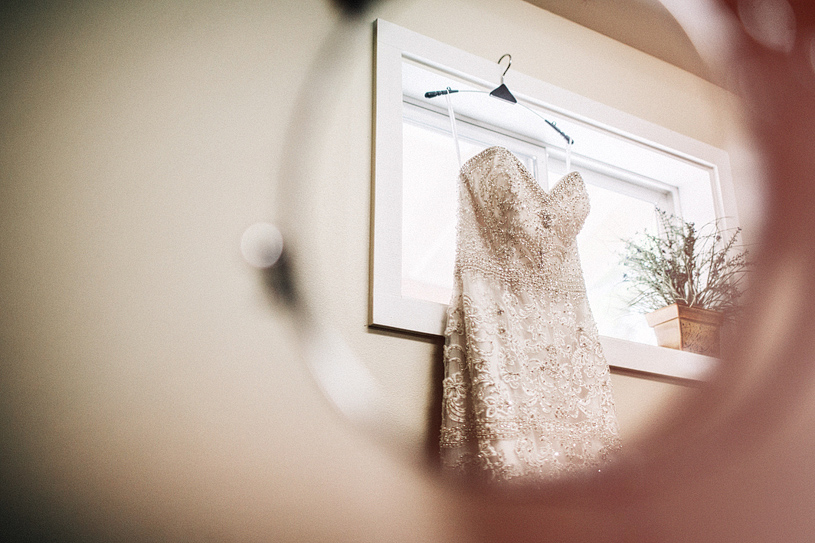 La soie bridal gown hanging at the Gibson House