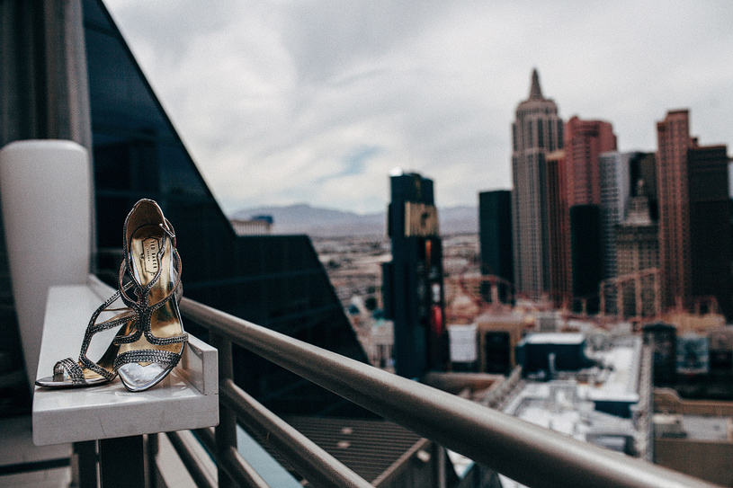 Bridal shoes at the Pent House Suite at the MGM grand in Las Vegas