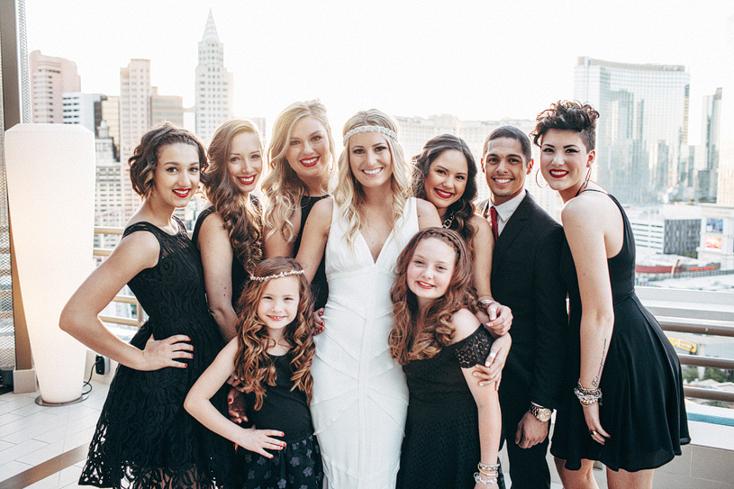 Bridal party portraits at the MGM Grand