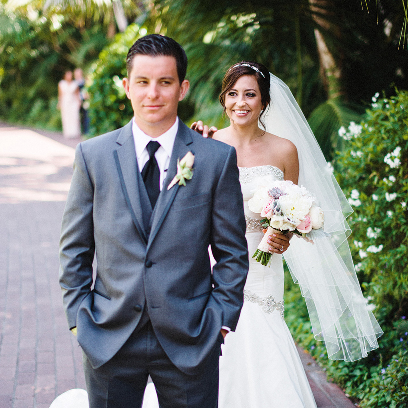 Adorable first look photograph of a bride and groom at a Santa Barbara wedding
