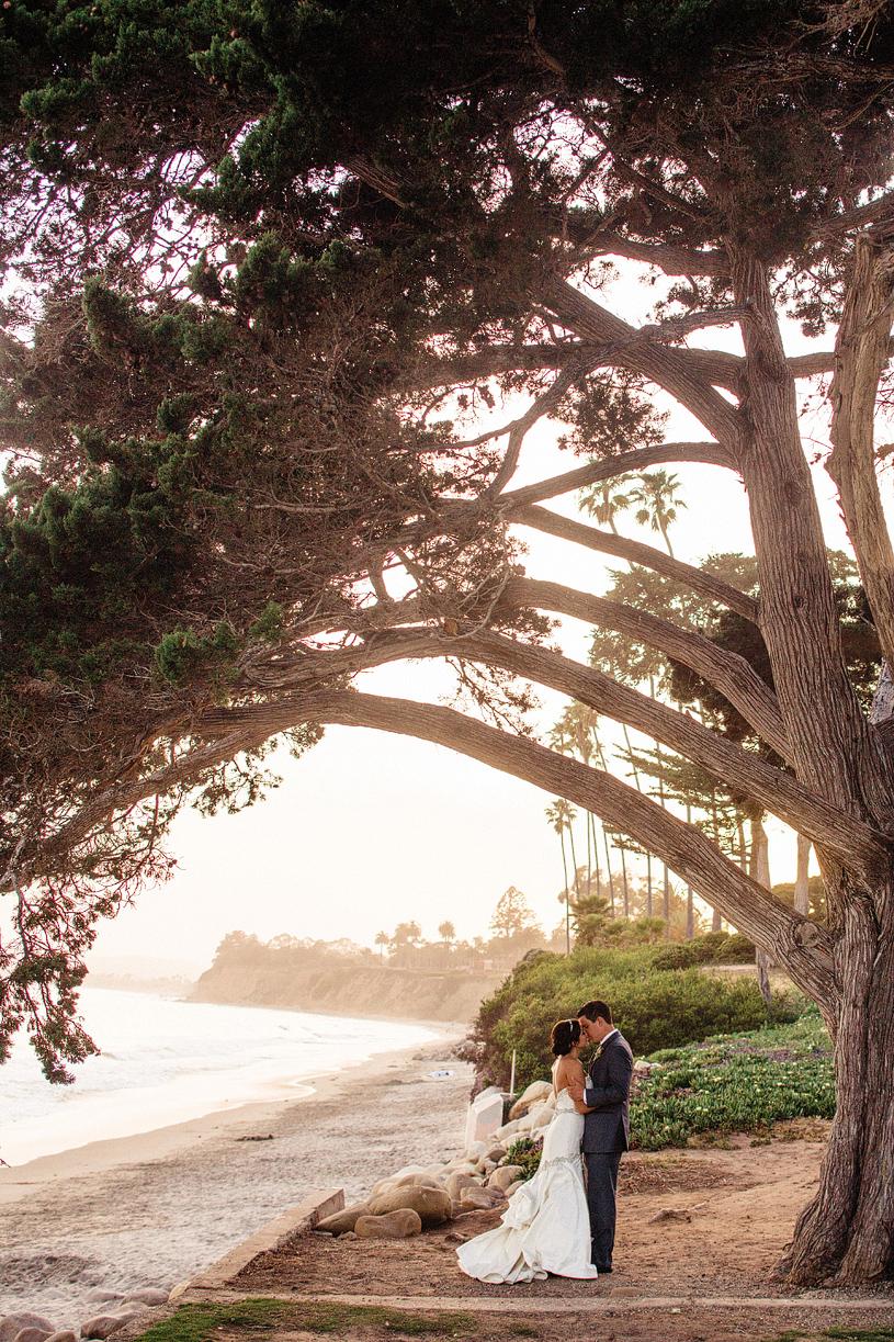 Beach across the street from the Four Seasons Santa Barbara wedding portrait