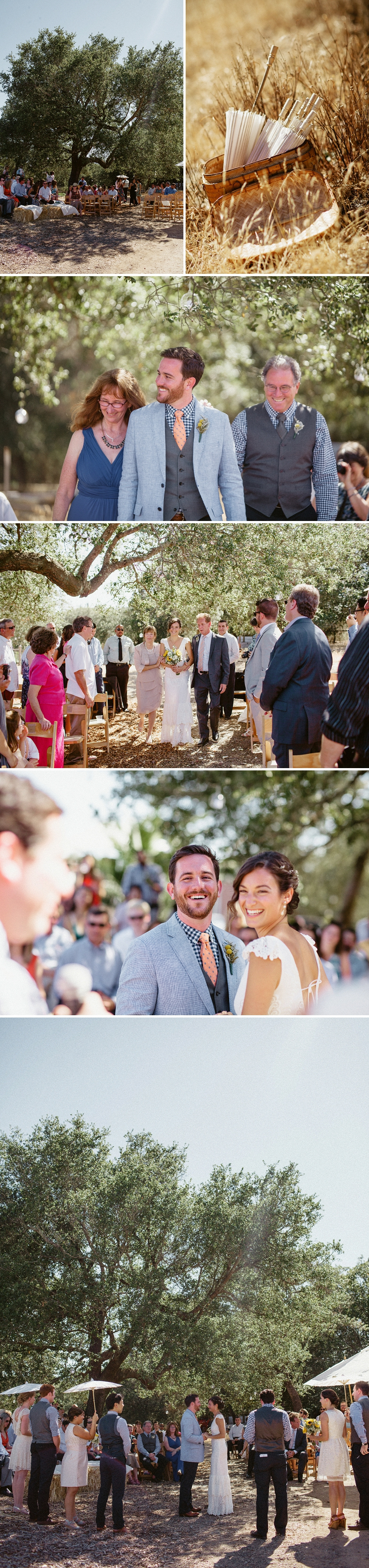 Sweet intimate wedding ceremony under an oak tree in Healdsburg
