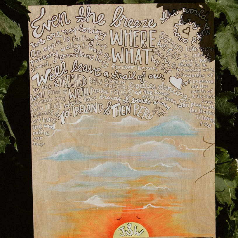 hand painted sign-in board for wedding