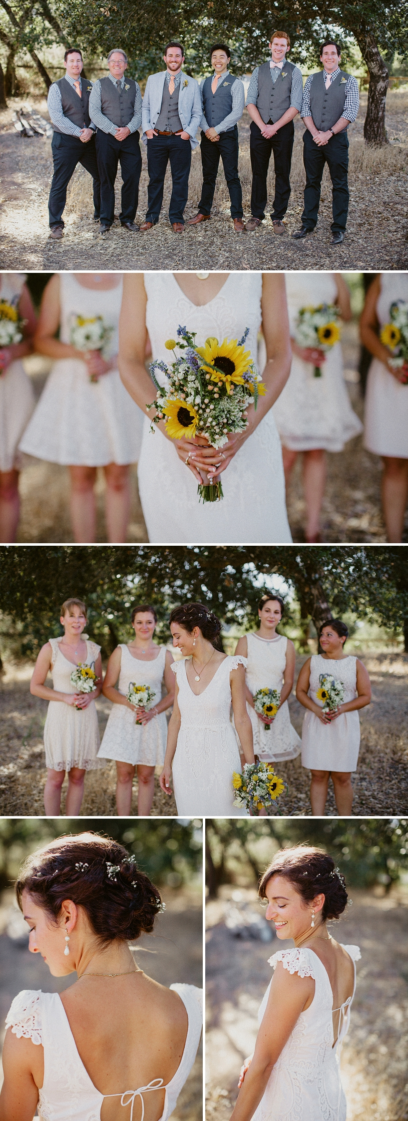 baby's breath flowers in bridal hair and sunflower bouquets