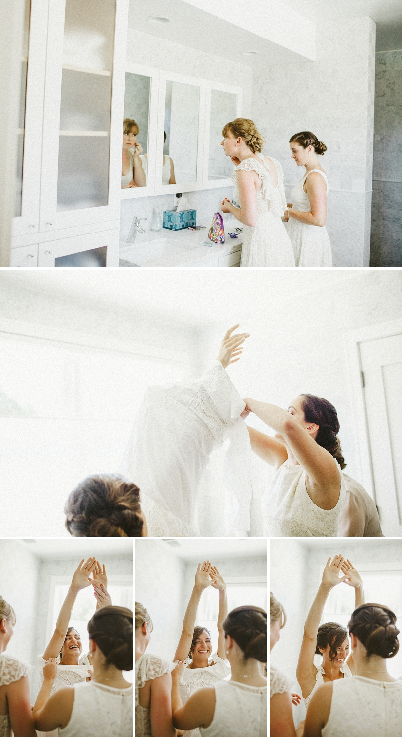 hilarious photographs of a bride getting her dress on