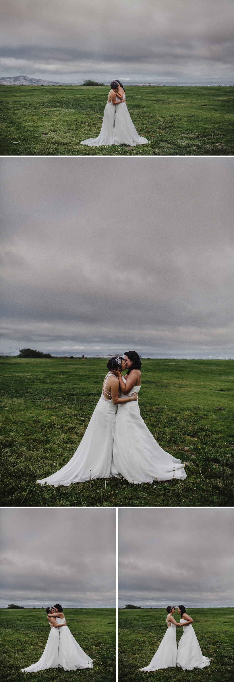 Elopement bride and bride portraits at Crissy field in San Francisco
