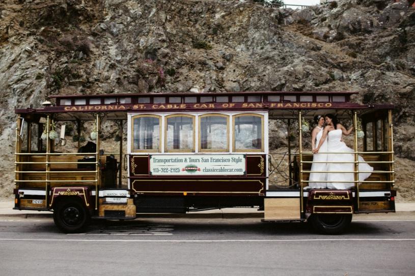 same sex wedding cable car wedding