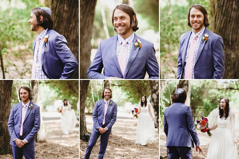 bohemian jewish wedding first look