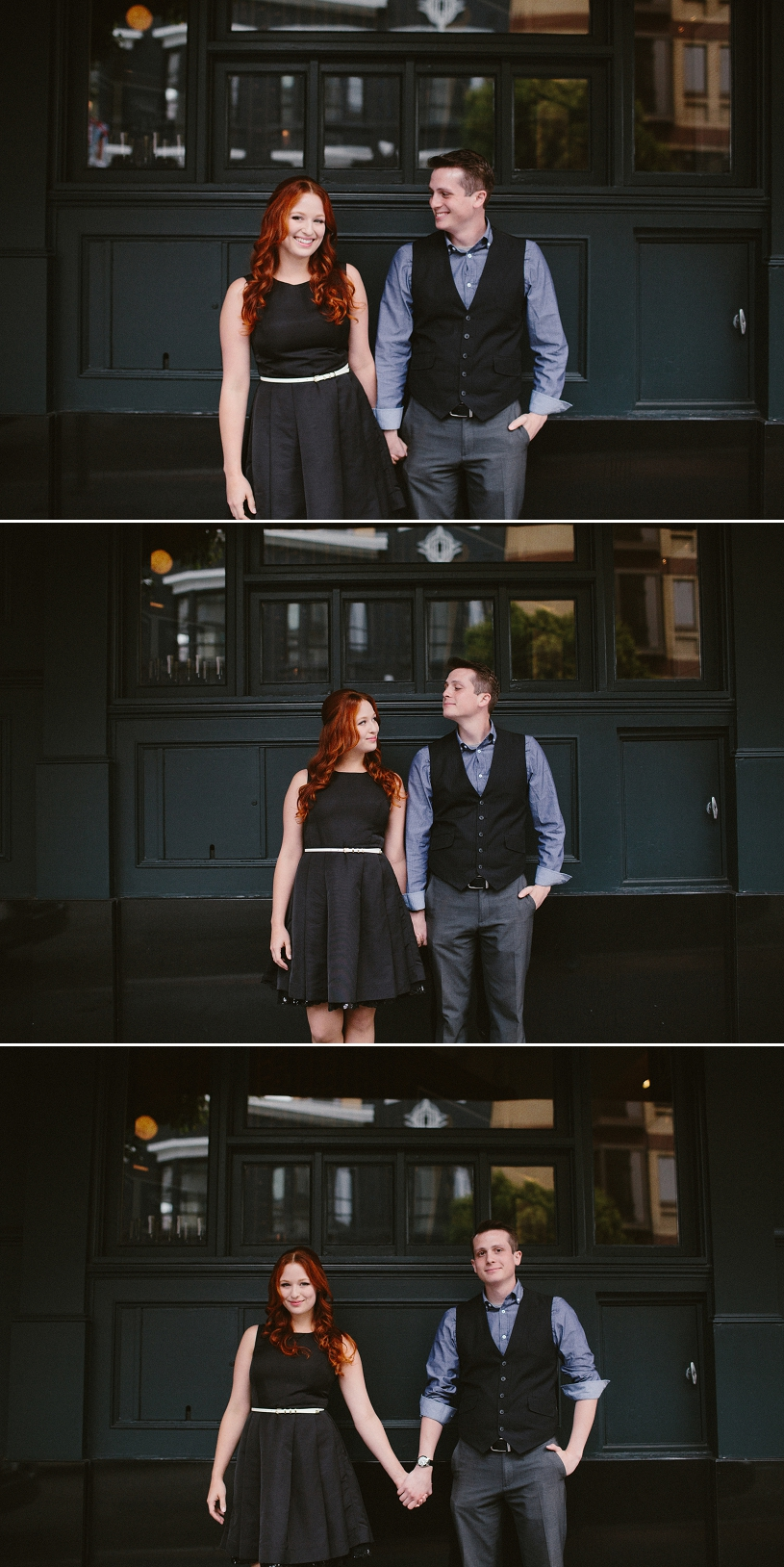 Adorable chic engagement in front of a french cafe
