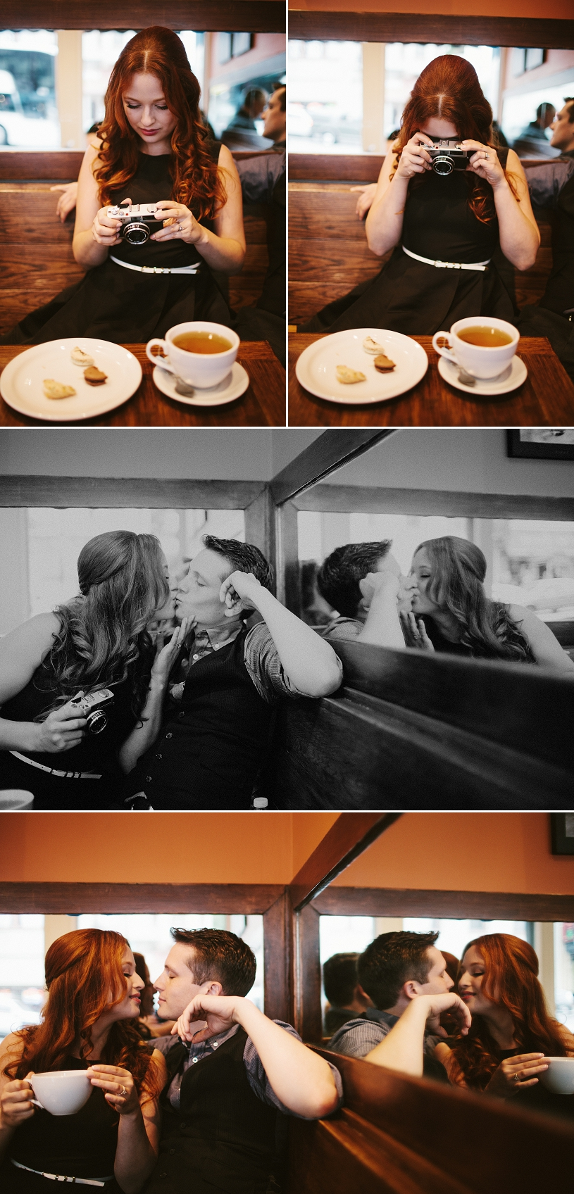 french coffee shop themed engagement session in san francisco