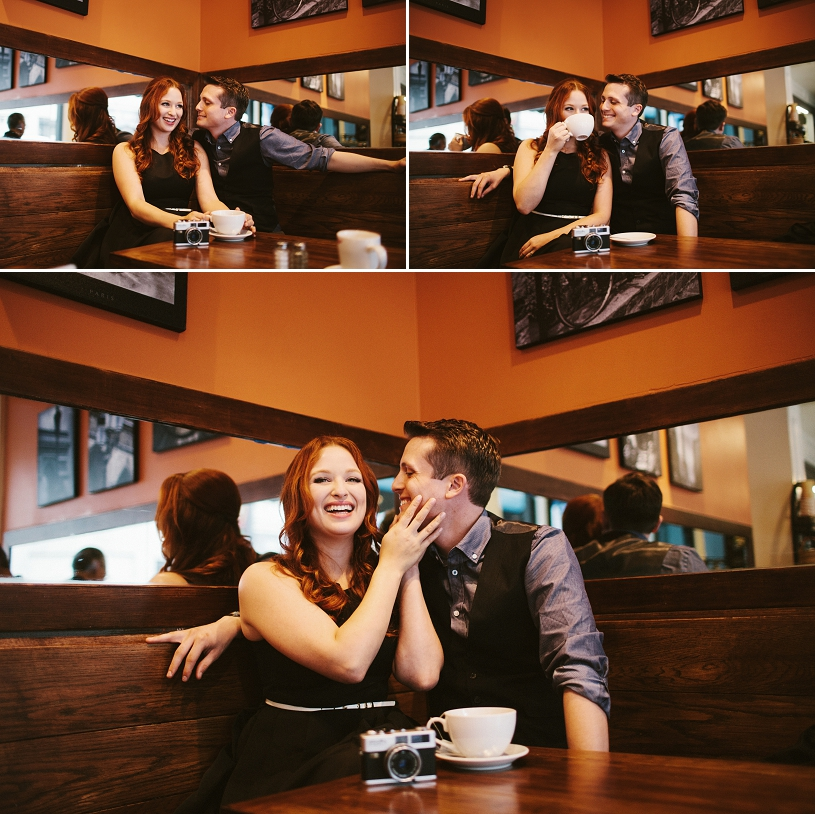 sweet candid engagement session in san francisco at a coffee shop